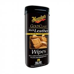 Meguiars Gold Class Rich Leather Wipes  Салфетки для ухода за кожаной обивкой салона (туба/25шт.)