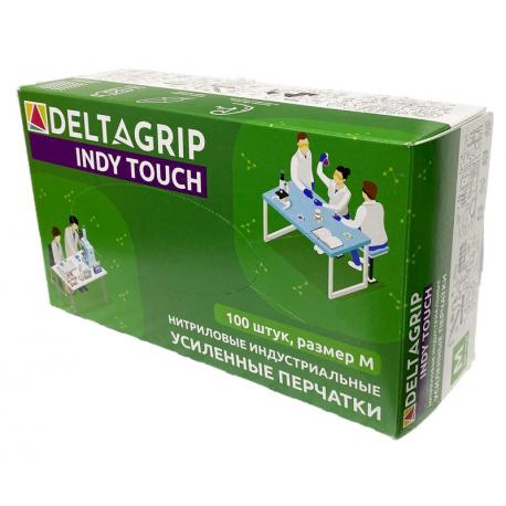 """GWARD Indy Touch Перчатки нитриловые усиленные, размер """"M"""", цвет зеленый 100 шт"""